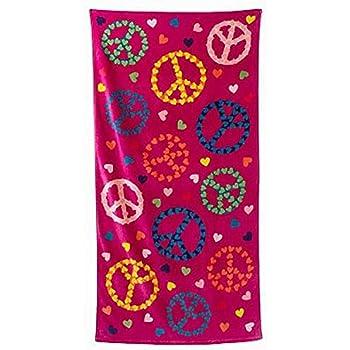 Jumping Beans Hearts & Peace Signs Plush Cotton Velour Beach Towel 30x60