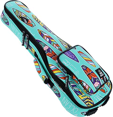 Ukulele Case Concert Size 8 Official Colors Front Pouch Triple Shock-Proof Padding Enhanced Glide Zip Backpack Straps (Boards of Paradise)