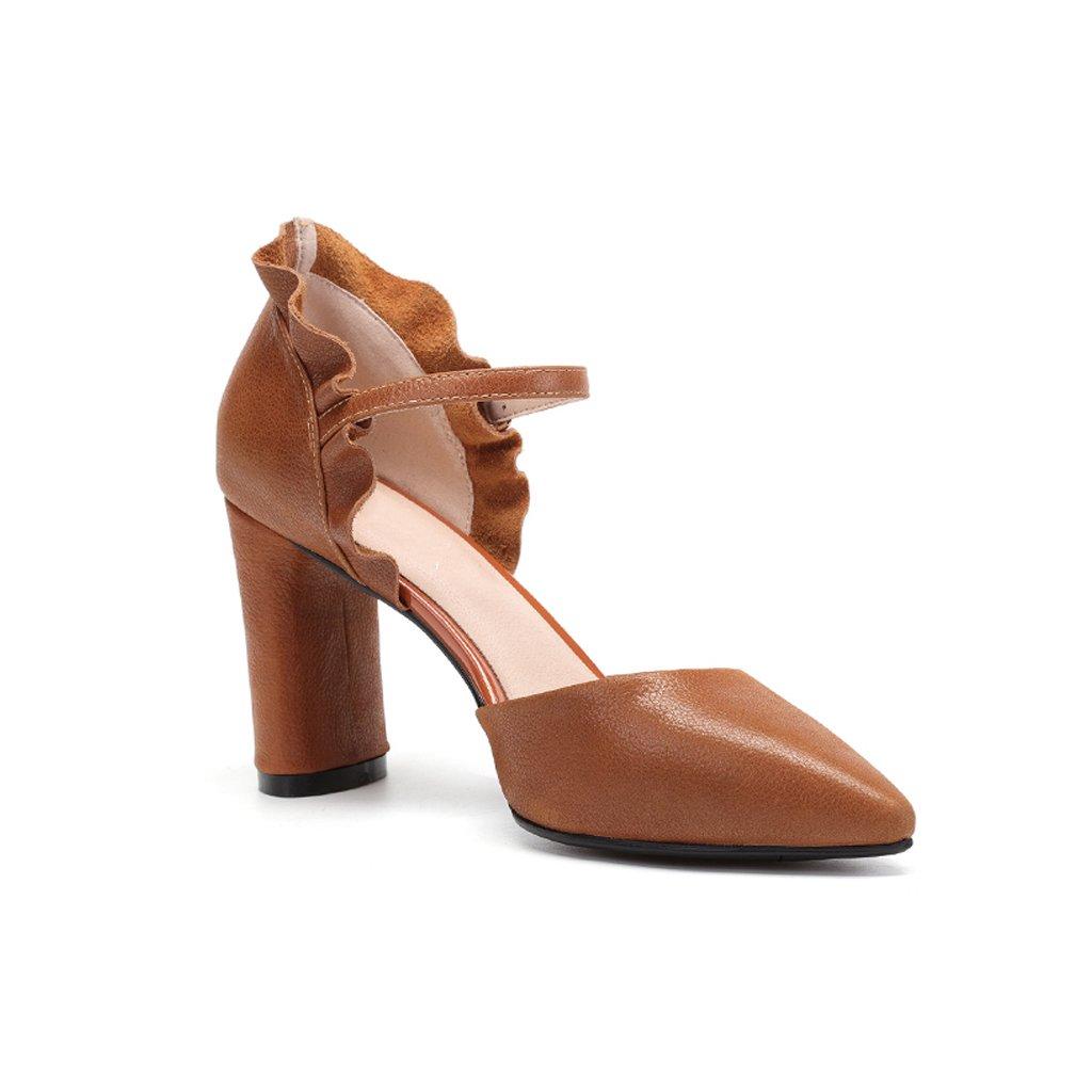 YUBIN Sommer Frühling Jugend Sandalen Frauen Frauen Frauen Baotou Schuhe Wildleder Schnalle Mit Spitzen Hohlen Hohlen High Heels (Farbe   braun größe   39) 7ff5ed