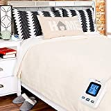 SimplyWarm Electric Heated Polar Fleece Blanket with Sensor-Safe Overheat Technology – New for 2018 HIGH TEC Digital Controller (Ivory, Full w/Single Controller)