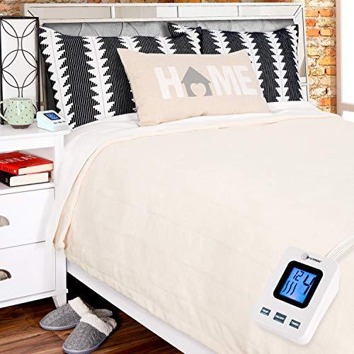 SimplyWarm Electric Heated Polar Fleece Blanket with Sensor-Safe Overheat Technology – New for 2018 HIGH TEC Digital Controller (Ivory, Twin w/Single Controller)