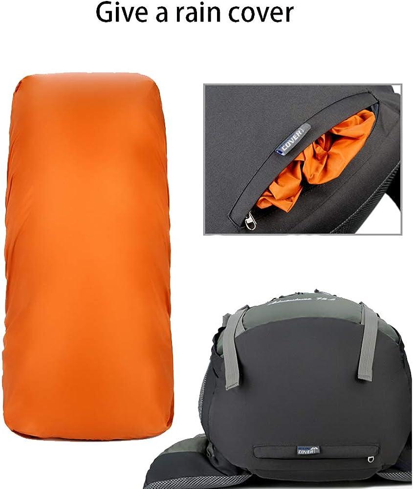 para acampar Bolsa mochila de trekking de nylon impermeable de 75 con funda para lluvia mochila de d/ía de alpinismo para deportes al aire libre de gran capacidad Mochila de excursionismo