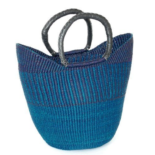 LARGE SHOPPING BASKET / SHOPPER – HANDMADE GHANA BOLGA AFRICA – FAIR TRADE (Blue)
