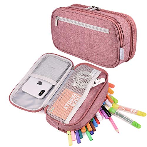 Pencil Case, Large Capacity Pencil Pen Bag Pouch Holder Travel Make Up Cosmetic Bag Stationery Case Bag with Multi Compartments for Girls Women Middle High School College Student Office Adult, Pink