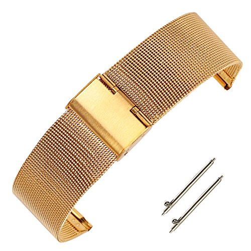 (20mm Interchangeable Solid Stainless Steel Mesh Watch Band for Men Gold Milanese Loop Watch Bracelet)
