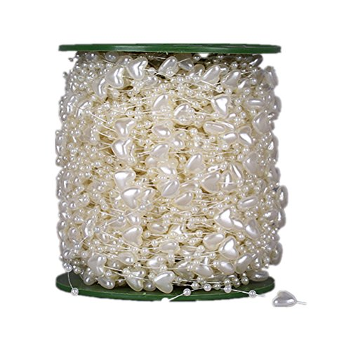 60 Meters/200 Feet Pearls String Roll Beads Garland Heart shape by the roll -Wedding Party Decor DIY Accessory(ivory)