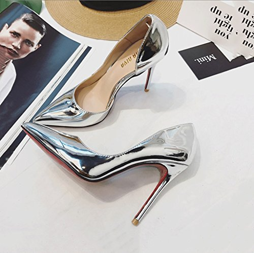 Silver Pointed-Toe High Heels Summer Comfortable Sandals Fashion Sexy Shallow Mouth Wedding Shoes (Color : Silver, Size : 37)