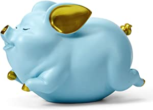 HAUCOZE Piggy Bank Coin Money Banks Flying Pig Gifts Decor Statue for Baby Boys Girls Kids Resin Blue 21cmL