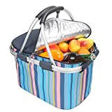 yodo Collapsible Cooler Bag Insulated Picnic Basket 22L Family Size with Sewn in Frame for Party Beach Picnics Camping Fishing Sporting Music Events, Double Handles