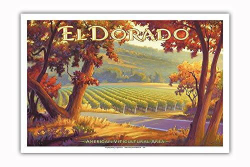 (Pacifica Island Art - El Dorado Wineries - Sierra Foothills AVA Vineyards - California Wine Country Art by Kerne Erickson - Master Art Print - 12in x 18in)