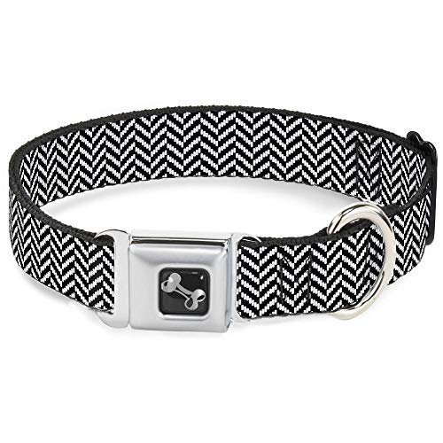 Buckle Down Seatbelt Buckle Dog Collar - Herringbone Jagged Black/White - 1.5