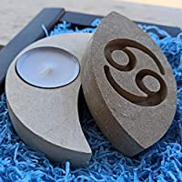 Handmade in Italy Stone Cancer Candle Holder - Incl Box,Candle & Message Card - Contains Fossil Fragments - Birthday Gifts June July - Water Zodiac Astrology Horoscope