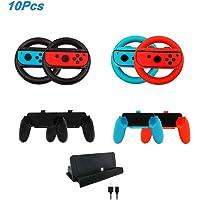 leegoal 10 en 1 Kits Accessoires de Jeu pour Nintendo Switch, 4 Joy-Con Volant 4 Joy Con poignées poignée, 1 Socle de Charge Dock avec 1 câble de Type C pour commutateur Nintendo