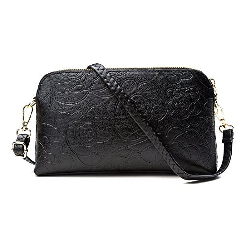 Flower Embossing Artificial Leather Cross Bag Clutch Bag Evening Bag (Black) by INEYMALL