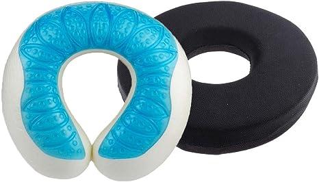 Set 2pcs Seat Hemorrhoid Coccyx Tailbone Cushion Travel Gel Cooling Pillow