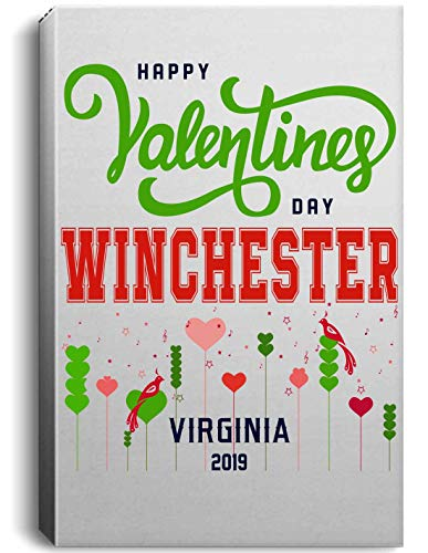 Valentines Day Decorations Canvas Wall Art - Happy Valentines Day Winchester Virginia VA 2019 Canvas Print State Wall Art, Stretched by Wooden Frame, Ready to Hang, 16 x 24 Inch