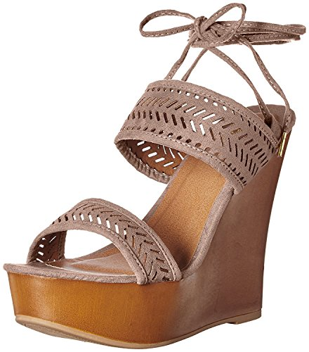 Fabric Lace Up Wedges (Qupid Women's Kendall-60a Wedge Sandal, Taupe, 8 M US)