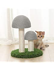 GWOKWAI Cat Scratching Post Mushroom Cat Tree with 2 Scratching Poles Unique Cat Scratcher Modern Cat Tower for Indoor Cats