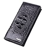 Men Crocodile Leather Fashion Business Long Wallet With Zipper Closure
