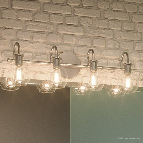 Luxury Vintage Bathroom Light, Large Size: 9''H x 30.5''W, with Industrial Style Elements, Floating Glass Design, Aged Nickel Finish and Clear Glass, Includes Edison Bulbs, UQL2042 by Urban Ambiance by Urban Ambiance