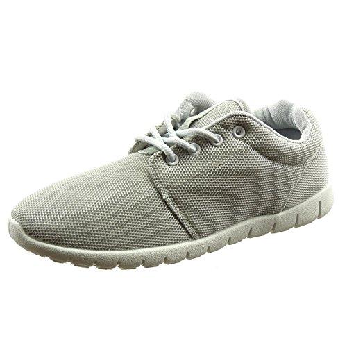 Sopily - Scarpe da Moda Sneaker alla caviglia donna Tacco a blocco 2.5 CM - Grigio