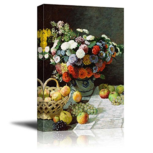 Still Life with Flowers and Fruit by Claude Monet Print Famous Oil Painting Reproduction