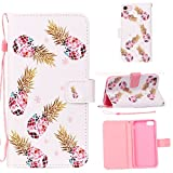 iPhone 6/7/8 Case, AIKIN Aesthetic&Protective Wallet Case with Stand Feature, Pineapple Pattern Magnetic