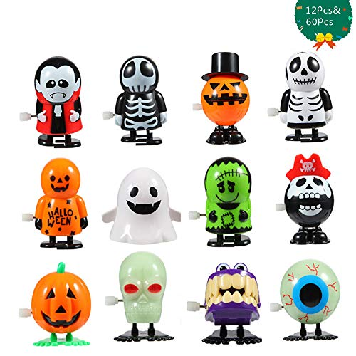 Best Halloween Treat Ideas (FunsLane 12 Pcs Wind Up Toys and 60 Pcs Temporary Tattoo for Kids, Assortment Goody Bag Filler, Holiday Party Favors for Christmas Thanksgiving Children's Birthdays)