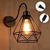 Kiven Plug In Industrial Edison Cage Antique Style Wall Sconce Lamp Cage Wall Sconce Shade Wall Sconce With Lotus Leaf Shade (BD0179)