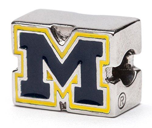 University of Michigan Charm | University of Michigan Blue and Maize Block M Logo Bead Charm | Officially Licensed University of Michigan Jewelry | UMICH Gifts | Michigan Jewelry | Stainless (University Graduation Charm)