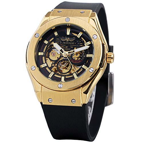 Caluxe Sports Men's Automatic Mechanical Watches Silicone Strap 2017 Men's Skeleton Golden Wristwatches Automatic Sports Mens Watch