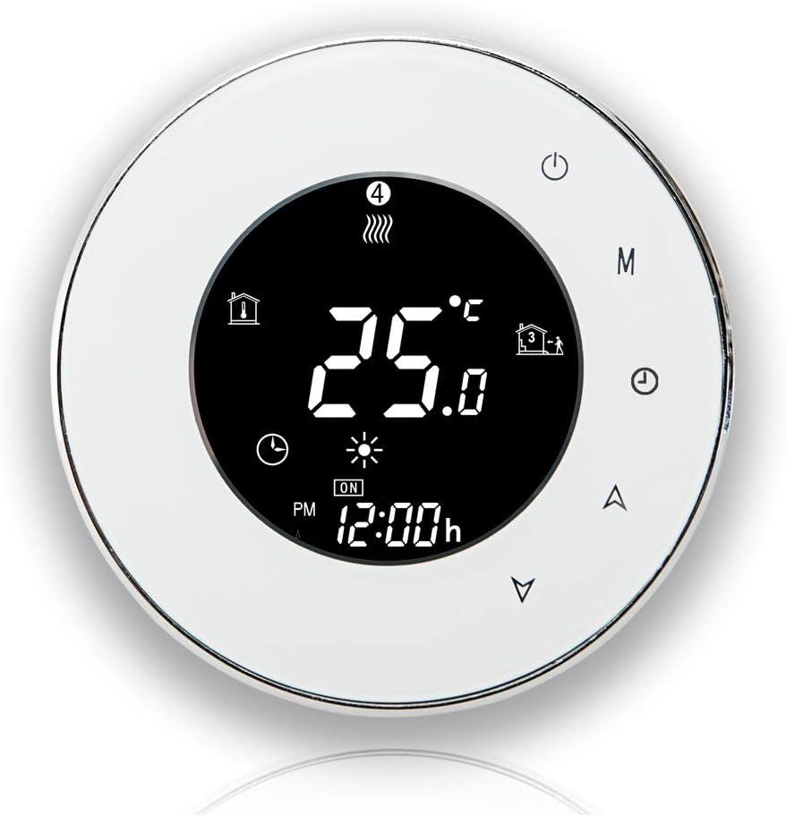 BECA 6000 Series 3 / 16A Pantalla táctil LCD Calentador de agua/electricidad/caldera Termóstato inteligente de control de programación con conexión WIFI (Calentamiento de caldera, Blanco)