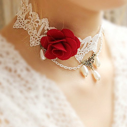 LEECO Elegant Pure Beautiful Bride Wedding Accessories Gothic Ribbon Bridal Lace Pattern Necklace,White Lace Necklace with A Red Rose and Three Teardrop-shaped Pearls Pendant