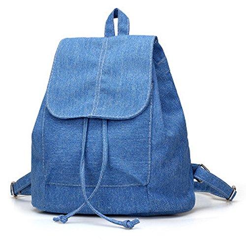 Denim Canvas Shoulder Bag Student Casual Backpack Jean Bag Drawstring Bag (Blue)