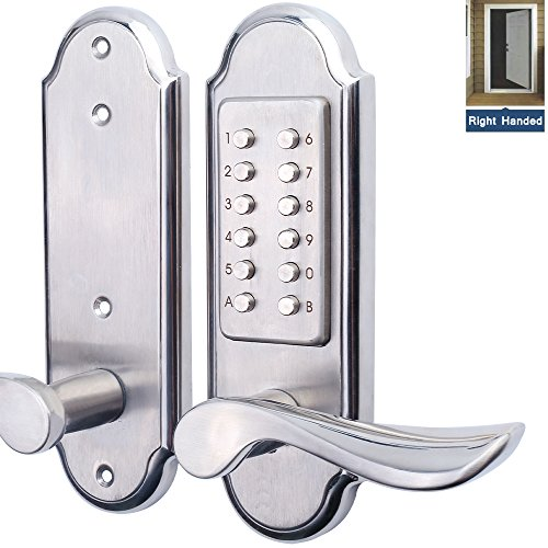 Mechanical Keyless Door Lock (Right Handed Keyless Mechanical Door Lock Digital Combination Security Keypad Entry Lock Stainless Steel 304 for Wood Metal Plastic Door-NOT a Deadbolt & Need to Drill Additional 4 Holes)