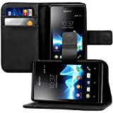 kwmobile Elegant synthetic leather case for the Sony Xperia E with magnetic fastener and stand function in black