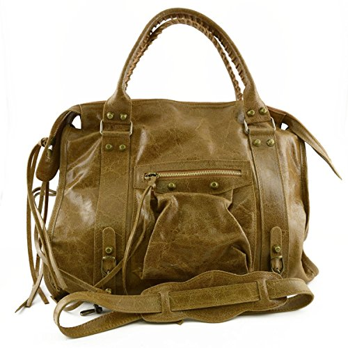 Italy In Woman Bag Made Cognac Leather Genuine Color Handbag With Studs And Laces Tuscan qgRR5TF