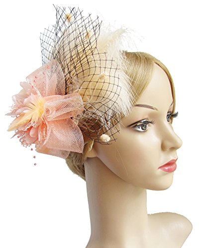 Kathyclassic Women's Fascinators Hat Hair Clip Feather Wedding Headware Bridal 1920s Headpiece (Peach)