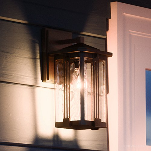 Luxury Craftsman Outdoor Wall Light, Small Size: 12.25''H x 6.5''W, with Mid-Century Modern Style Elements, Vertical Stripes Design, Natural Black Finish and Water Glass, UQL1050 by Urban Ambiance by Urban Ambiance (Image #8)