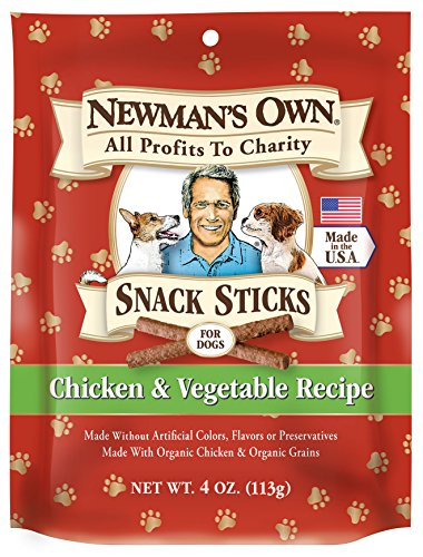 Newman's Own Snack Sticks for Dogs, Chicken & Vegetable, 4-Ounce Bag (Pack of 6)
