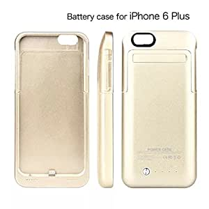 Kujian iPhone 6 Plus Ultra-slim Backup External Portable Power Bank Charger Case 4200 mAh 5.5 inches Rechargeable Battery Extender Power Case With Kickstand 4 Led Light Indicators SYNC CE Rohs PC CE Certification [With 2 HD Screen Protector] (Gold)