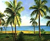 High Quality Polyster Canvas ,the High Resolution Art Decorative Prints On Canvas Of Oil Painting 'Landscape With Coconut Trees', 24x29 Inch / 61x73 Cm Is Best For Study Gallery Art And Home Artwork And Gifts