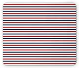 striped mouse pad - Navy Mouse Pad by Lunarable, Classical Striped Pattern Parallel Lines Marine Colors Sea Life Ocean Theme, Standard Size Rectangle Non-Slip Rubber Mousepad, Navy Blue Red White