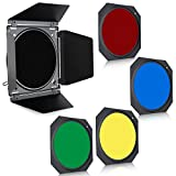 SUPON Barn Door & Honeycomb Grid & 4 Color Gel Filter for Speedlite Flash Standard Reflector