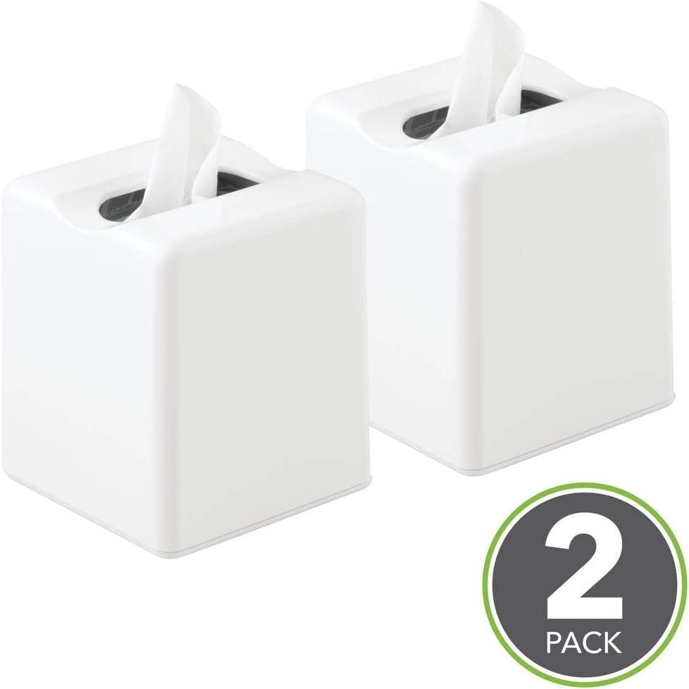 la cucina o la camera da letto bianco mDesign Set da 2 scatole porta fazzoletti Elegante copertura per scatole di fazzoletti Ideali come porta fazzoletti o portatovaglioli per il bagno
