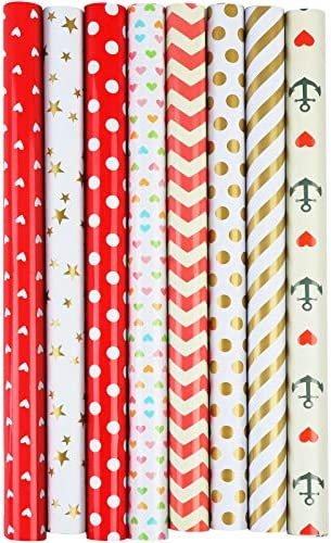 8 Sheets Gift Wrapping Paper Colorful Art Paper Hearts Dots Waterproof Wrapping Paper Decorative Paper Craft Paper for Valentine's Day Wedding, Birthdays, Christmas