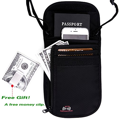 Passport Wallet - Passport Holder - Travel Wallet with RFID Blocking for Security (Black)