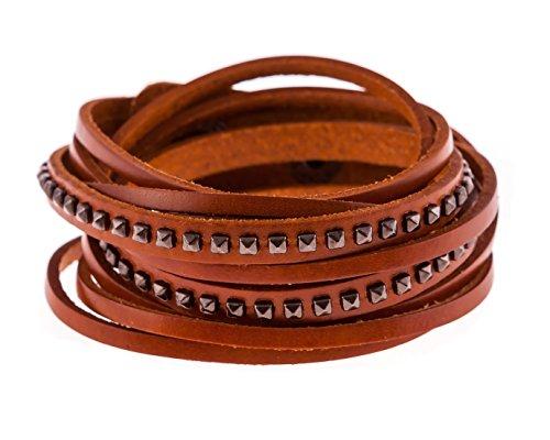 True Heart Style Multistrand Genuine Leather Cuff Bracelet with Pyramid Studs - Wrap Leather Studded Bracelet Tan