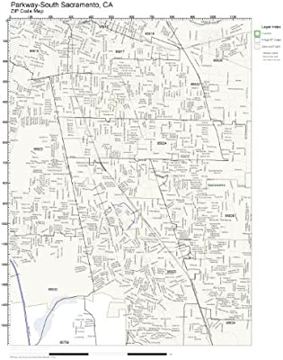 Amazon Com Zip Code Wall Map Of Parkway South Sacramento Ca Zip