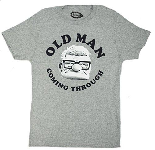 Disney Carl Old Man Coming Through Up T-shirt (Extra Large , Heather Grey)